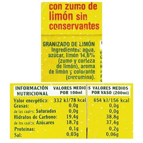 Granizado de limón Mercadona ingredientes