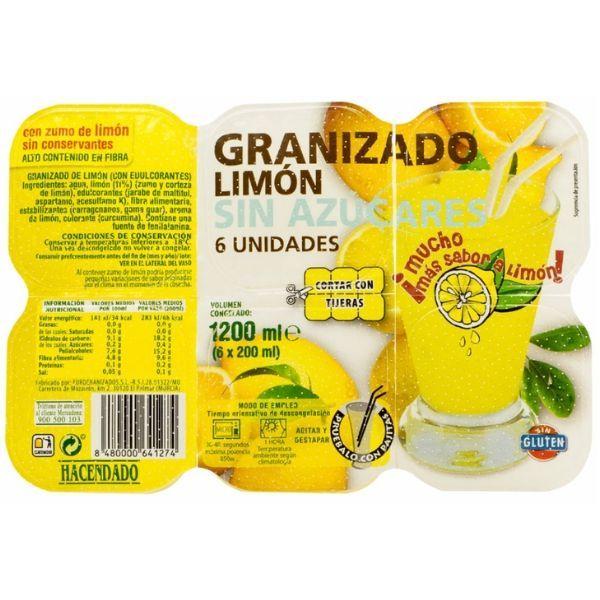 Granizado de limón sin azúcar Hacendado vegano