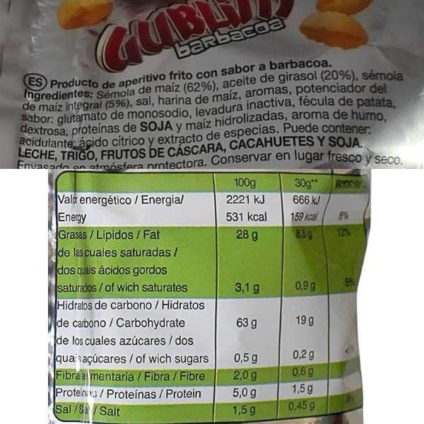 Gublins barbacoa ingredientes y información nutricional