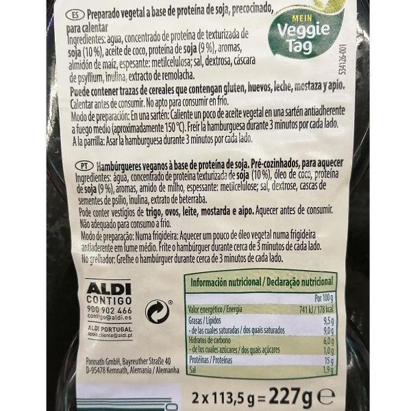 Wonder Burguer Aldi ingredientes y valores nutricionales