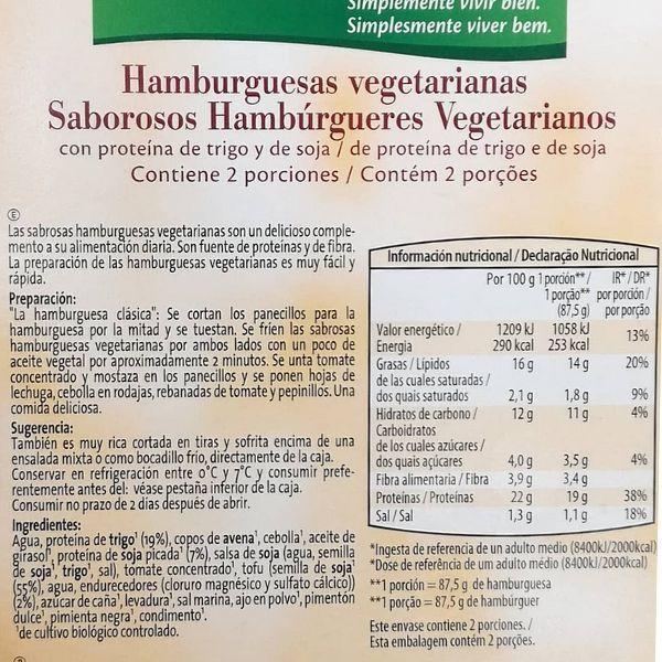 Hamburguesa vegetariana Aldi ingredientes y información nutricional