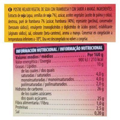 Helado de mango y frambuesa Mercadona (Hacendado)