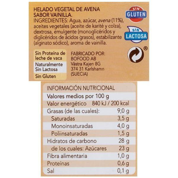 Helado de vainilla Mercadona vegano ingredientes y información nutricional