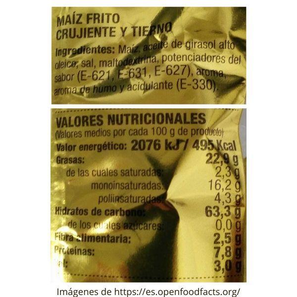 Maiz frito Mercadona ingredientes e información nutricional