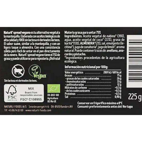 Margarina Naturli ingredientes y valores nutricionales
