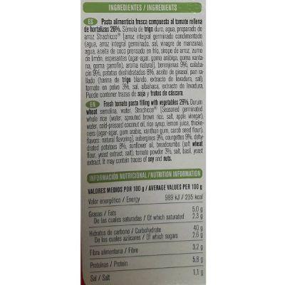 Pasta rellena de tomate vegana Gallo