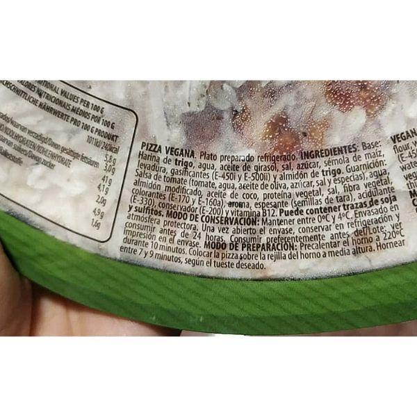 Pizza vegana Palacios ingredientes e información nutricional