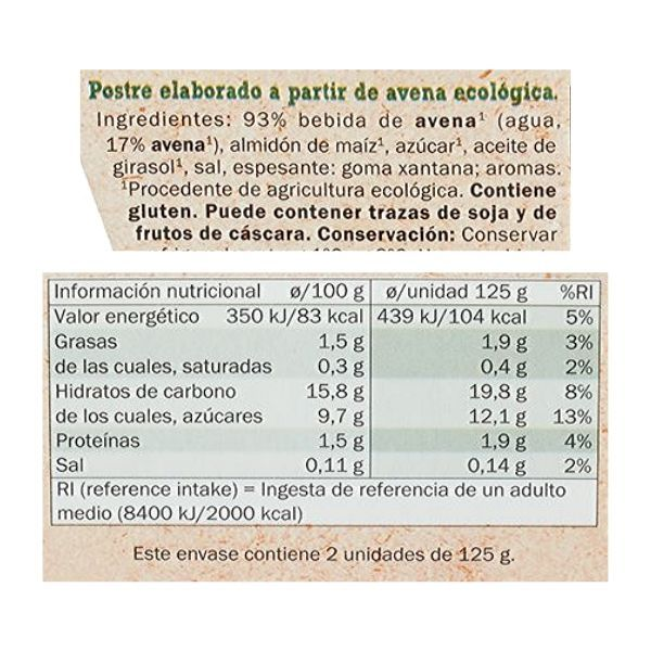 Yogur de avena Lidl ingredientes y información nutricional
