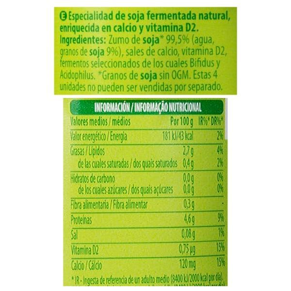 Yogur de soja sin azucar Mercadona ingredientes y información nutricional