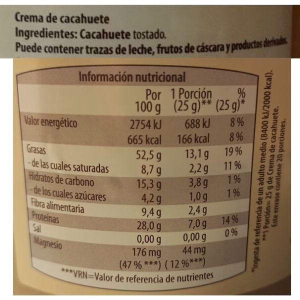 Crema de cacahuete Aldi información nutricional e ingredientes