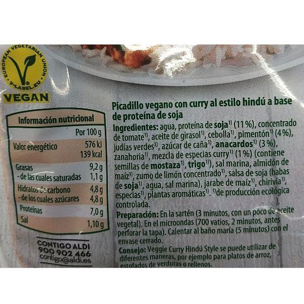 Curry de soja vegano Aldi ingredientes e información nutricional