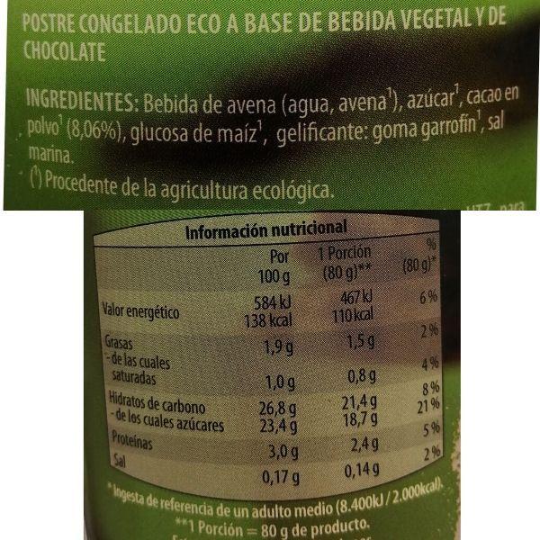 Helado chocolate vegano Aldi ingredientes e información nutricional