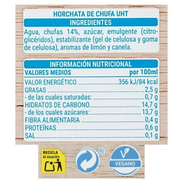 Horchata Mercadona información nutricional e ingredientes