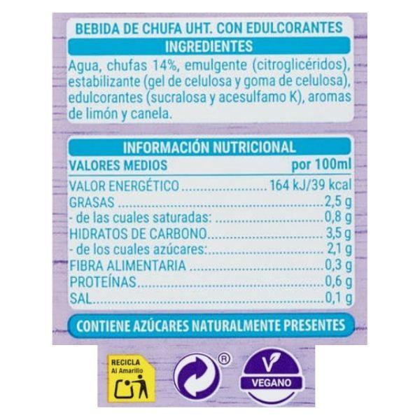 Horchata sin azucar Mercadona ingredientes e información nutricional