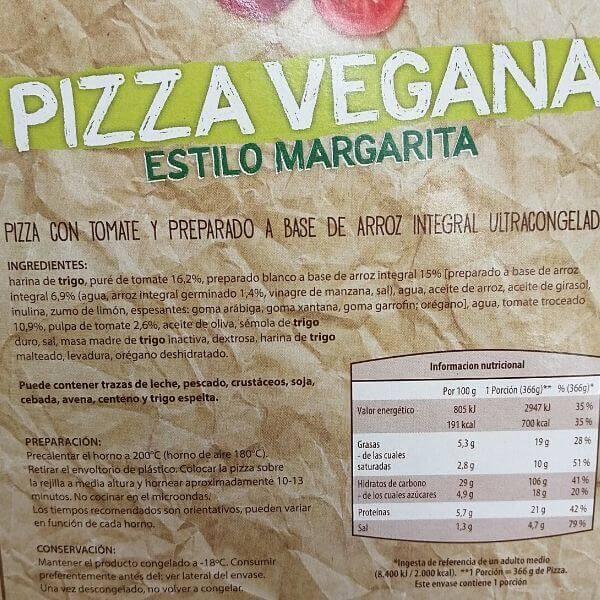 Pizza vegana Aldi ingredientes