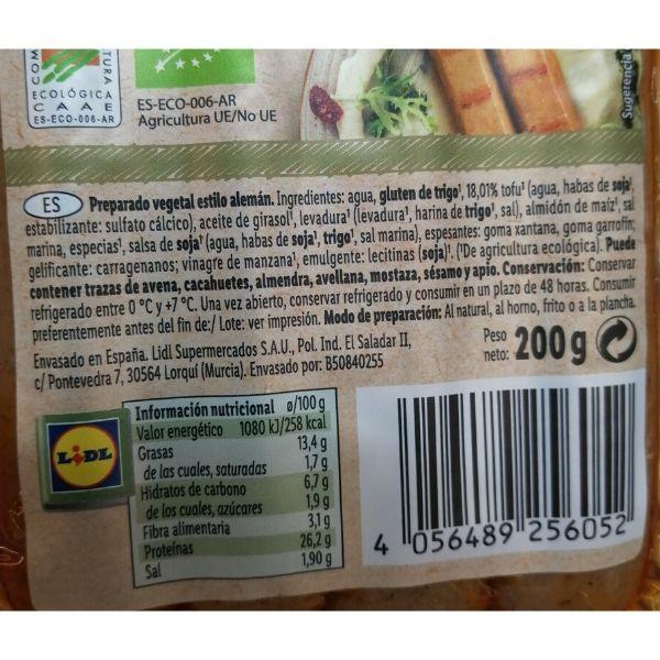 Salchichas veganas Lidl ingredientes e información nutricional