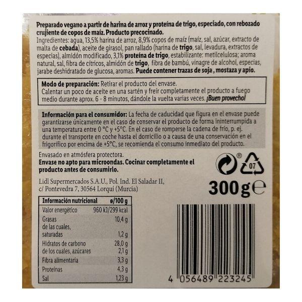 Escalopes veganos Lidl información nutricional e ingredientes