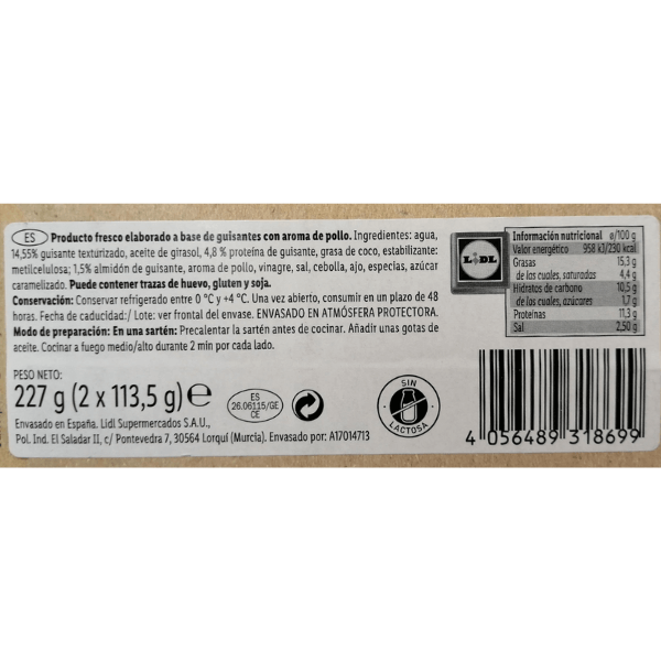 Hamburguesa pollo vegano Lidl ingredientes y valores nutricionales