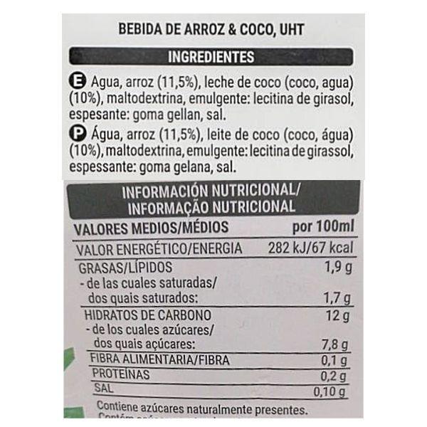 Leche de arroz y coco sin azúcar Mercadona ingredientes e información nutricional