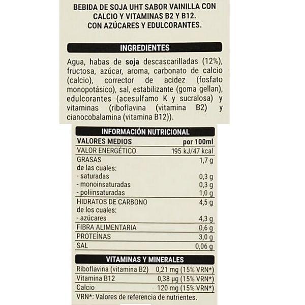 Leche de soja y vainilla Mercadona ingredientes e información nutricional
