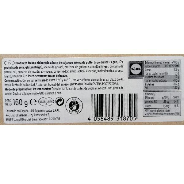 Tiras de pollo vegano Lidl información nutricional e ingredientes