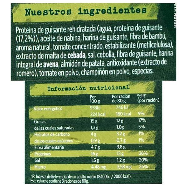 Albondigas veganas Findus calorias e ingredientes
