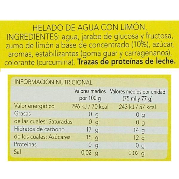 Helado de limón Mercadona ingredientes y valores nutricionales