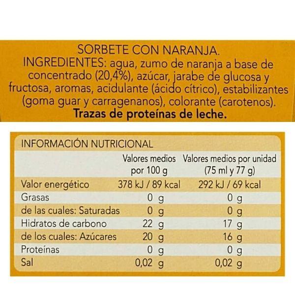 Helado de hielo de naranja Mercadona ingredientes e información nutricional