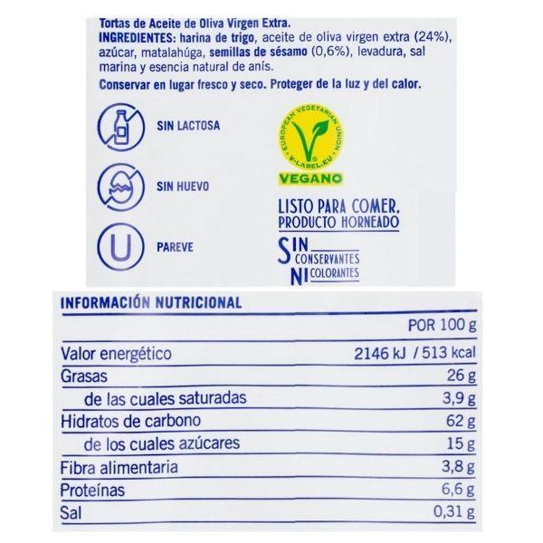 Tortas de aceite Ines Rosales ingredientes y valores nutricionales