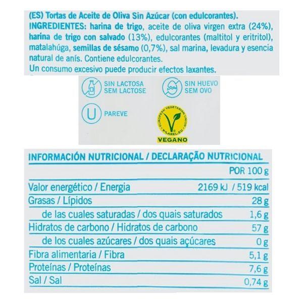 Tortas de aceite sin azucar Ines Rosales ingredientes y valores nutricionales