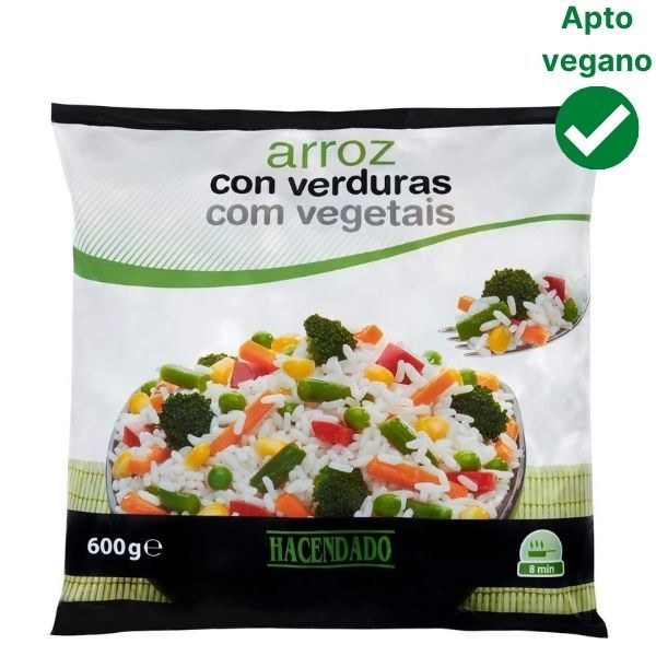 Arroz con verduras congelado Mercadona vegano