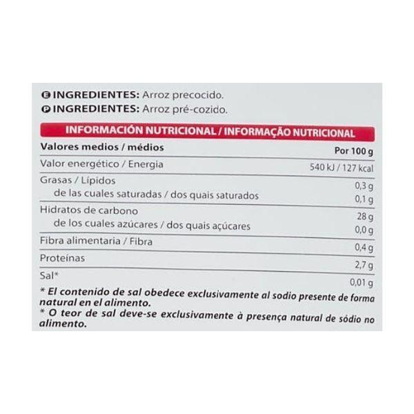 Arroz precocido congelado Mercadona ingredientes y información nutricional