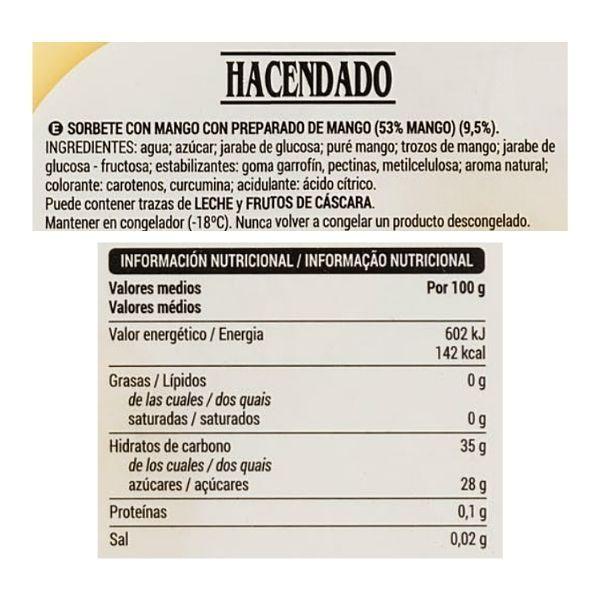 Sorbete de mango Mercadona ingredientes