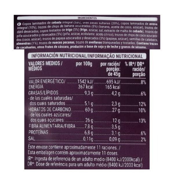 Muesli con fruta y frutos secos Mercadona ingredientes e información nutricional