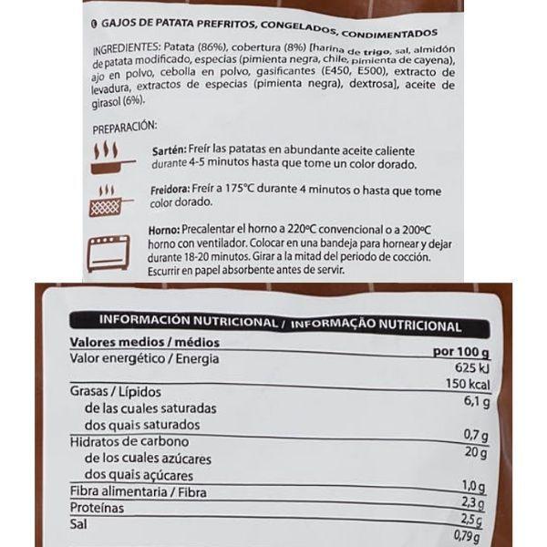 Patatas gajo Mercadona ingredientes e información nutricional