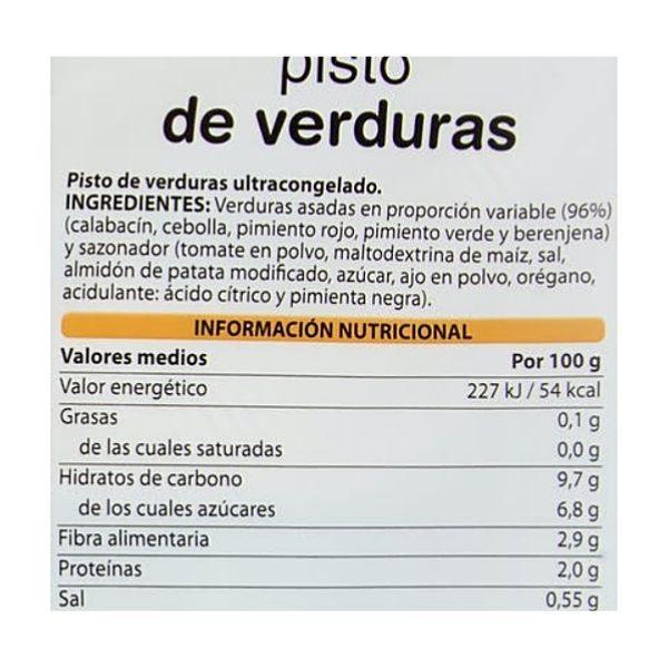 Pisto verduras Mercadona ingredientes e información nutricional
