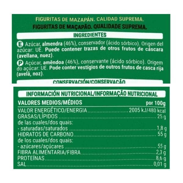 Figuras de mazapan Mercadona ingredientes e información nutricional