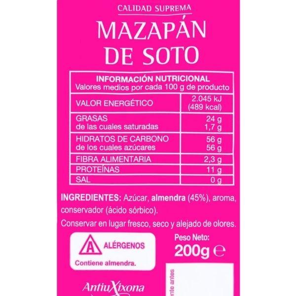 Mazapan Mercadona ingredientes e información nutricional