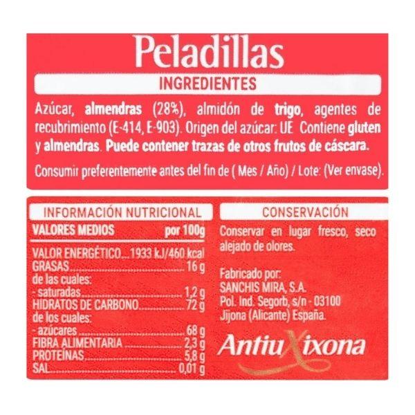 Peladillas Mercadona ingredientes e información nutricional