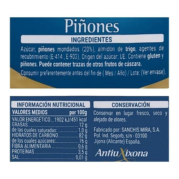 Piñones dulces Mercadona ingredientes e información nutricional