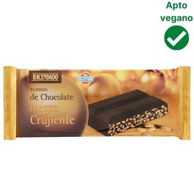 Turrón de chocolate negro crujiente Mercadona vegano