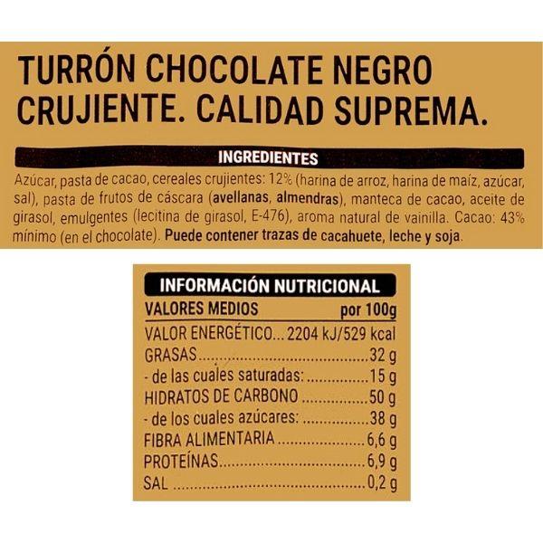 Turrón de chocolate negro crujiente Mercadona ingredientes e información nutricional
