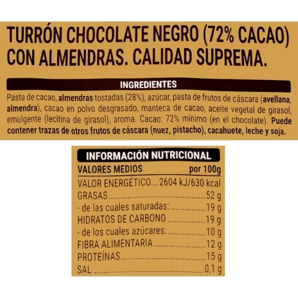 Turrón de chocolate negro 72% y almendras Mercadona ingredientes e información nutricional