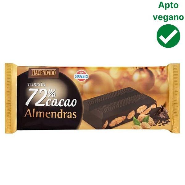 Turrón de chocolate negro 72% con almendras Mercadona vegano
