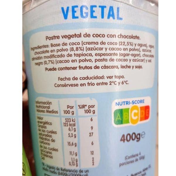 Natillas de chocolate veganas Danet ingredientes