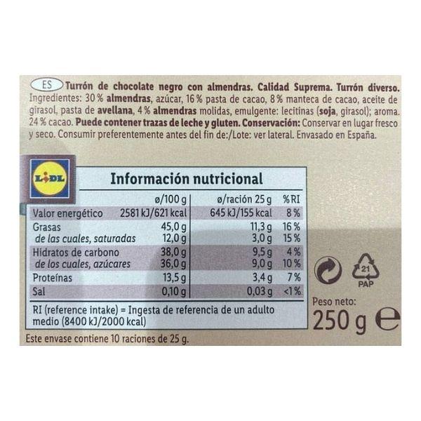 Turrón de chocolate negro y almendras DOR lidl ingredientes e información nutricional