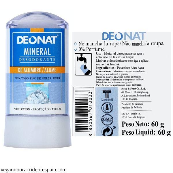 Desodorante piedra de alumbre Mercadona ingredientes