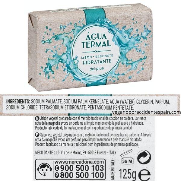Pastilla de jabón agua termal Mercadona ingredientes