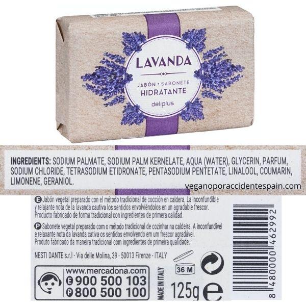 Pastilla jabon lavanda Mercadona ingredientes