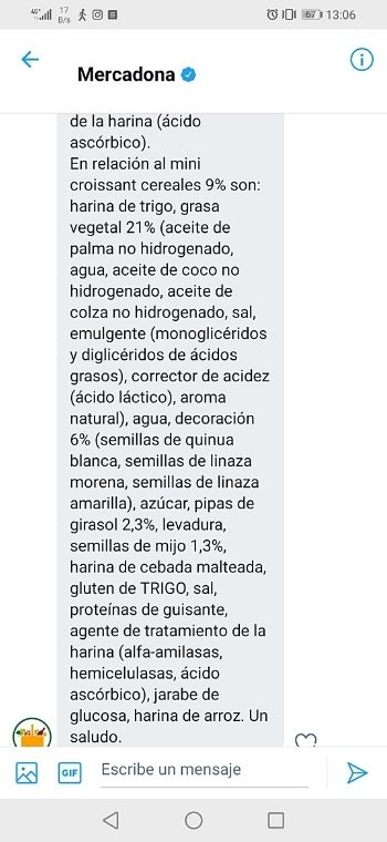 Croissant de albaricoque y curcuma vegano Mercadona ingredientes